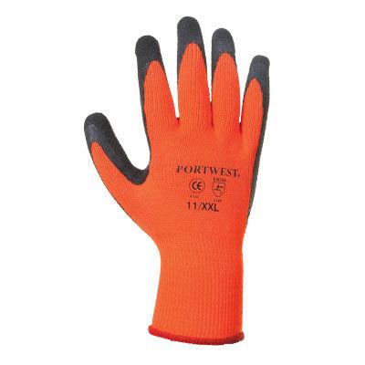 Mártott, téli kivitelű latex kesztyű, narancs/fekete szín, 1 pár