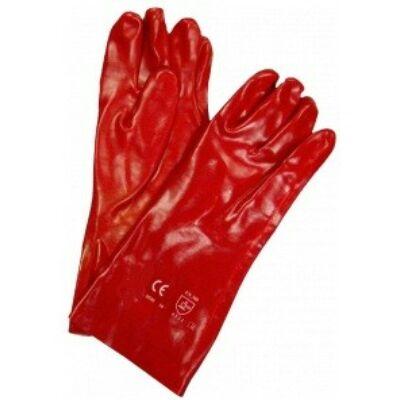 Saválló kesztyű, 40 cm, piros, pvc